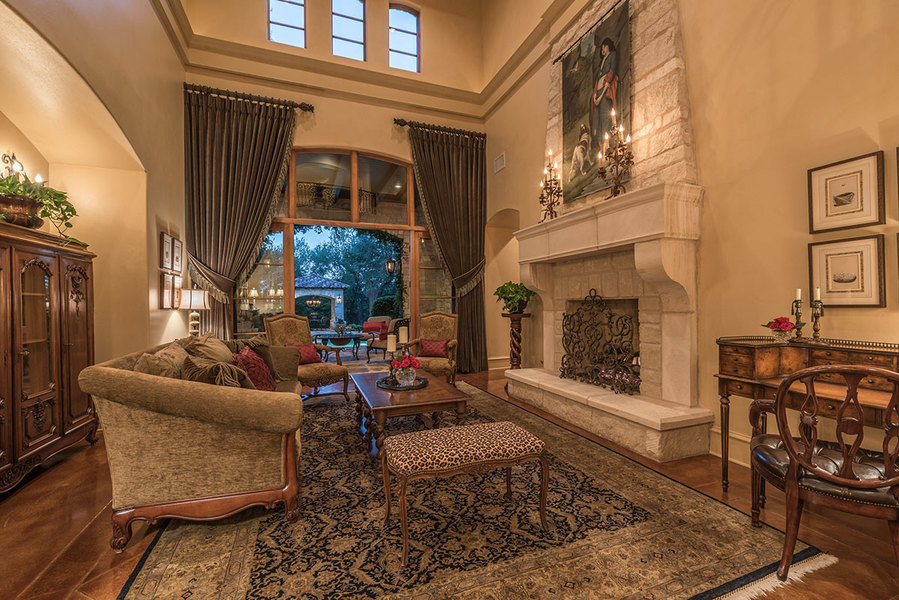 Interior of a Mediterranean-styled, hilltop estate in West Lake Hills. The six-bedroom home is curren