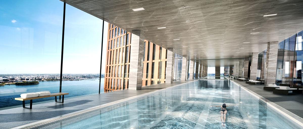 Representación de la piscina en el puente entre los edificios American Copper Buildings.