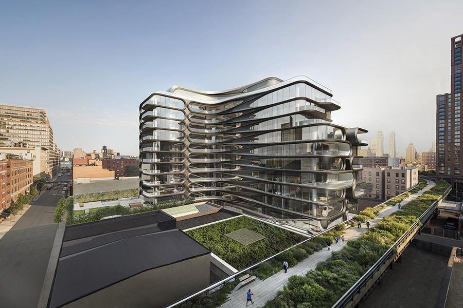 A rendering of the condominium's exterior. There will be a 2,500-square-foot sculpture deck next to t