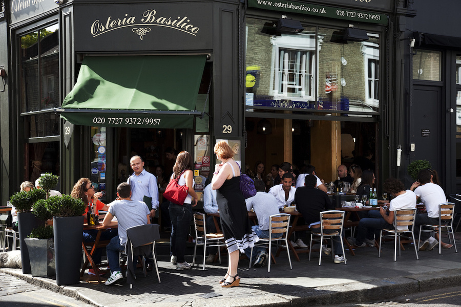 Kensington Park Road restaurant in a street scene in Notting Hill, West London, made famous by the mo