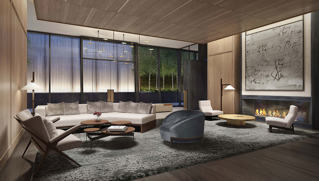 Rendering: At 111 Murray, a sprawling lounge with 15-foot ceilings, plush seating and an oversize sto