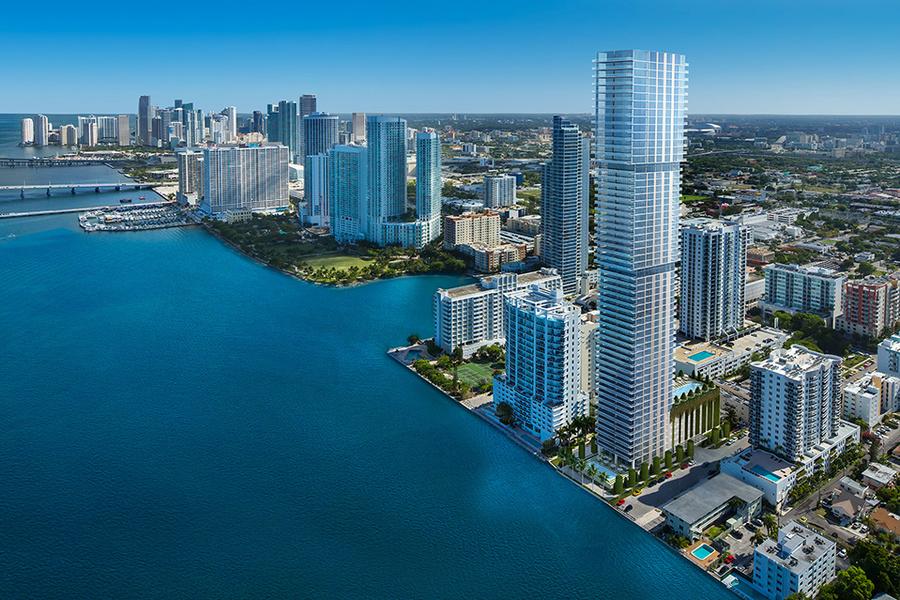 Una representación de Elysee Residences en el vecindario de Edgewater de Miami.