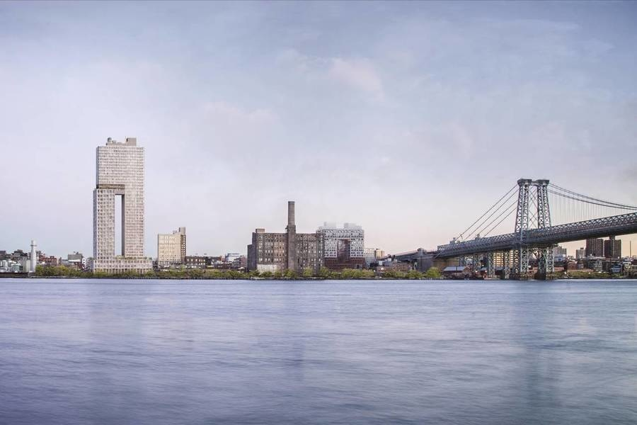 Rendering of new buildings at the former site of the Domino Sugar plant in Brooklyn.<br />