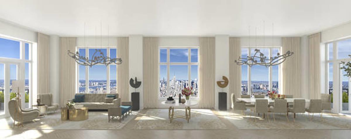 Una representación del <em>penthouse</em>. La torre incluye un hotel Four Seasons debajo de 157 depar
