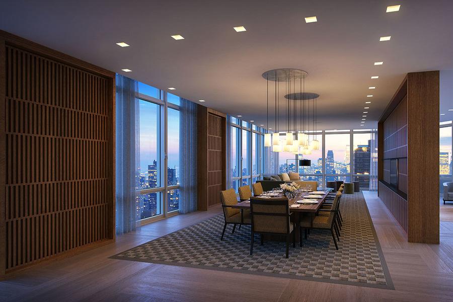 图为开发项目Easton一套出租公寓的餐厅,采用落地大窗并铺有橡木地板。